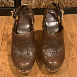 Tory Burch Brown Brayden Leather Clogs